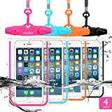 GLBSUNION Universal Waterproof Case, IPX8 Cell Phone Dry Bag/Pouch Compatible for iPhone 11 Pro Xs Max XR X 8 7 Galaxy S10 LG up to 6.9', Protective Pouch for Pool Beach Kayaking Travel Bath (4-Pack)