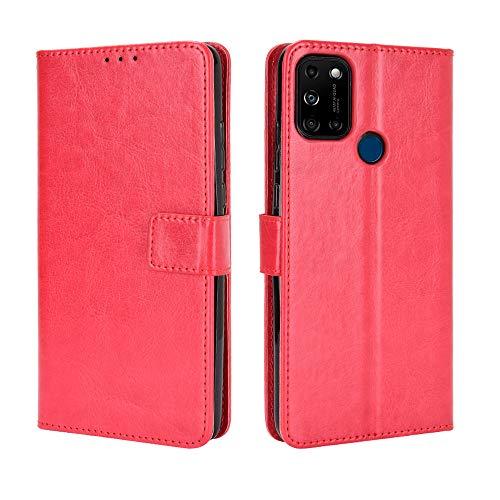 Wiko View 5/View 5 Plus Hülle [Brieftasche] [Klammerfunktion] [Kartenfächer] [Magnetic Flip Cover] Kompatibel mit Wiko View 5/View 5 Plus Smartphone(Rot)
