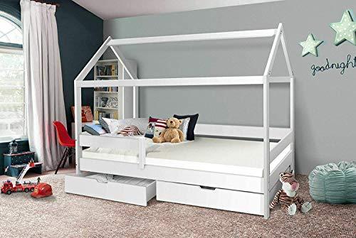 Hausbett 90x200 Kinderbett mit Rolllattenrost Hochbett Spielbett Massivbett (Ohne Vorhang, Ohne Schublade)