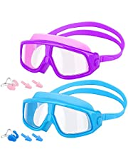 MoKo Swimming Goggles for Kids, (2 Pack) Large Frame Clear Wide Vision Swim Glasses No Leaking Anti Fog UV Protection Swim Goggles with Nose Clips & Ear Plugs for Children Kids