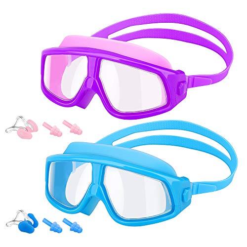 MoKo [2PZS Gafas de Natación para Niños con Protección Anti- vaho UV Sin Fugas de Visión Amplia Transparente con Tapones para Los Oídos y Pinzas para la Nariz -  Azúl + Púrpura