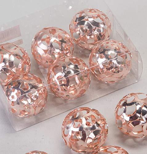 formano Kugeln 577832 Bombay lachs Set 6 Kugeln 4cm Rose Gold Hochzeit-Tisch-Schale-Teller-Deko Dekoration Metall
