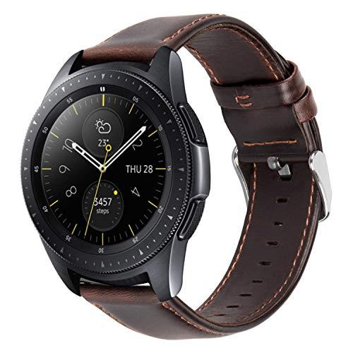 MroTech 20mm Correa Cuero Compatible para Samsung Galaxy Watch 42mm/Active/Active2 40mm 44mm/Gear Sport/S2 Classic/Vivoactive 3/Ticwatch 2/E/Amazfit Bip 20 mm Pulseras de Repuesto Café Hebilla Plata