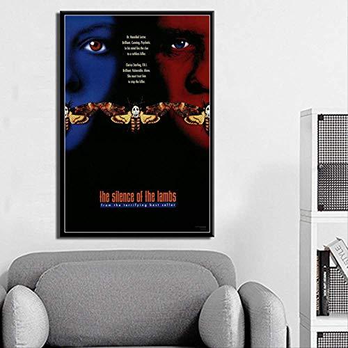ysldtty Pintura sobre Lienzo El Silencio De Los Corderos Película Clásica Arte Seda Cartel Decoración para El Hogar De Pared LF834G Sin Marco 40cmx60cm