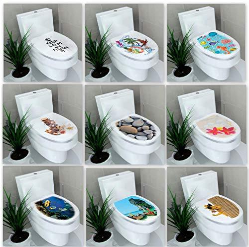 PiniceCore Aufkleber WC Sockel Pan Deckel Aufkleber Klosett Commode Aufkleber Hauptdekor Bathroon Dekor 3D gedruckt Blume Ansicht