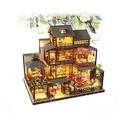 PN-Braes Dollhouse1:24 Escala creativa casa de muñecas miniatura muebles de madera Kit Mini hecho a mano grande de patio japonés modelo Plus con LED y caja de música Kit hecho a mano