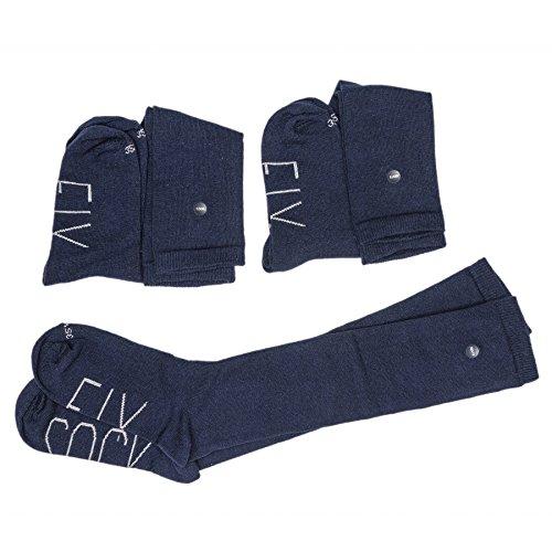Calcetines escolares largos con botón (pack 3 pares) (32-34, Azul marino)