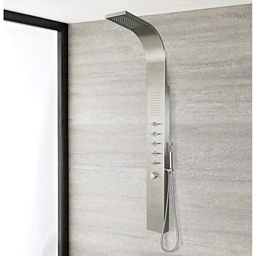 Trueshopping Stainless Steel Thermostatic Modern Bathroom Shower Tower Panel Column with Waterfall Head Body Jets and Hand Shower - 10 Year Guarantee