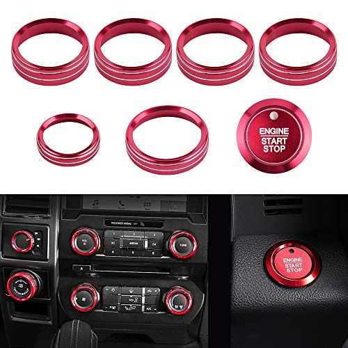 LECART 8Pcs Red Aluminum Alloy Car Inner Air Conditioner Audio Tune Trailer 4WD Switch Knob Cover Trim and Start Stop Engine Push Button Cover Ring Sticker Compatible for Ford F150 2016 2017 2018 2019