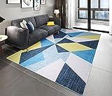 Milnsirk Alfombra de Design Geométrico Moderno de Pelo Corto, para Salon, Dormitorio, Cocina, Pasillo, Habitacion, Exterior ( Azul Blanco, 80 x 150 cm )