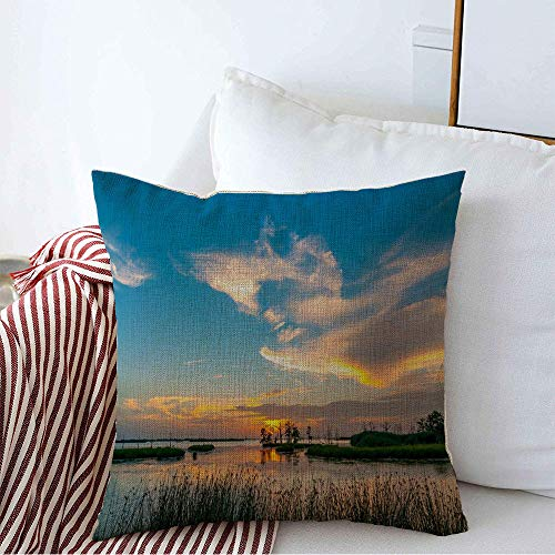 Decorative Throw Pillow Cover Lake Grass South Sunset Yellow Orange Blues Louisiana Swamp White Blue Nature Parks Outdoor Summer Linen Square Pillow Covers for Couch Sofa Bench 20 x 20 Inches