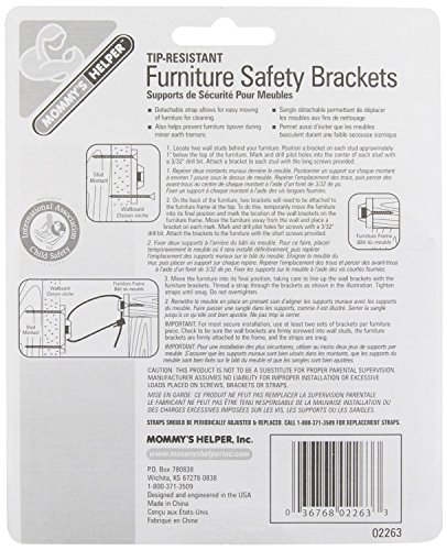 Mommy's Helper - Tip Resistant Furniture Safety Brackets, 2 Pack