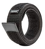 Loopbelt M 34-38 No Scratch Reversible Web Belt with Advanced Hook & Loop Fasteners Black Medium 34-38