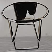 Round Leather Chair - B&W Hair on Leather (Leather, 73x73x73)