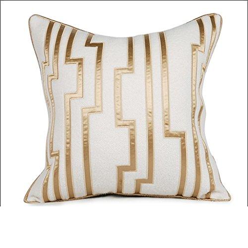 ZWL Villa Modèle Chambre Tissu Accueil Soft Equipment | Oreiller Golden Stripes Broderie mode z ( Couleur : Brass )
