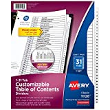 Avery 1-31 Tab Dividers for 3-ring Binders, Customizable Table of Contents,...