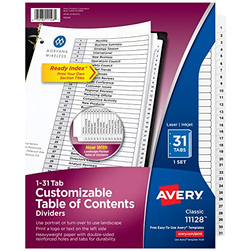 Avery 1-31 Tab Dividers for 3-ring Binders, Customizable Table of Contents, Classic White Tabs, 1 Set (11128)