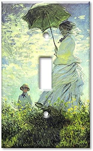 Cubiertas de la placa del interruptor de la luz - Interruptor de la sola gang, placa de pared del tamaño superior - Mujer con sombrilla