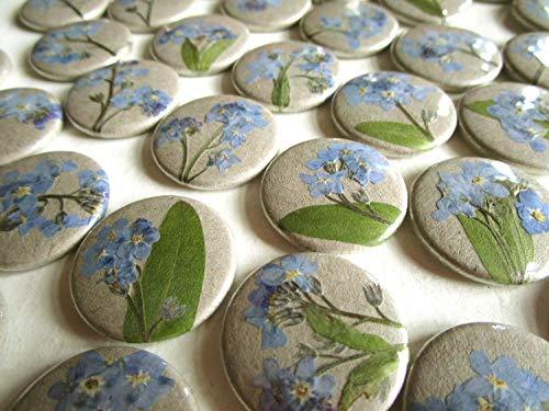 Vergissmeinnicht Button mit echten getrockneten Blüten, handgemacht