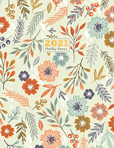 "2021 Monthly Planner: 2021 see it bigger Square planner | 12-Month Planner & Calendar with holiday Size: 8.5"" x 11"" ( Jan 2021 - Dec 2021). For Your ... Nice Flower Watercolor design for Women"