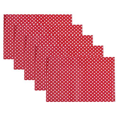 Amosfun 5 vellen Polka Dots inpakpapier waterdicht inpakpapier voor verjaardagscadeauboekpakket Party Favors Wraps M Rood
