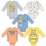 Disney Winnie the Pooh Baby Boys 5 Pack Long Sleeve Bodysuit 3-6 Months
