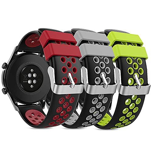 TUSITA Liberación Rápida Correa 18mm [3-Piezas] Compatible con Garmin Vivoactive 4,Venu 2,Huawei Watch GT GT2 GT2e,Galaxy Watch,TicWatch Pro GTX E2 S2,Polar Vantage M - Banda de Silicona de Repuesto