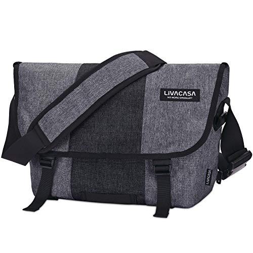 LIVACASA Aktentasche zum Umhängen Wasserdicht Herren Arbeitstasche Groß Studententasche Messenger Bag Laptoptasche 15.6 Zoll Umhängetaschen Herrentasche Laptop Arbeit Business-Tasche (Schwarz-Grau, M)