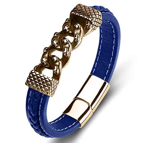 THTHT Punk Armband van titanium staal voor mannen vrouwen blauw goud decoratie ketting stof A hand creatief eenvoudig unieke retro ketting touw ketting met polsriem 20CM