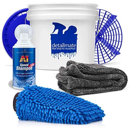 detailmate Dr. Wack Juego de lavado a mano Dr. Wack A1 Speed Shampoo 500 ml Cubo de lavado 3,5 GAL + Grit Guard bandeja + tapa guante de lavado + paño seco Nuke Guys Gamma Dryer