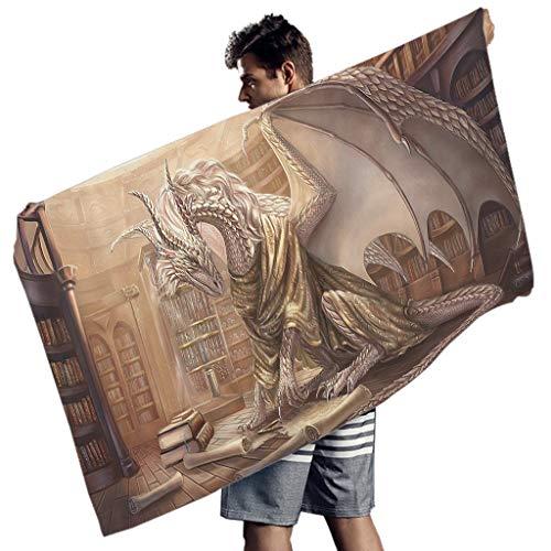 WellWellWell Toalla de playa rectangular con diseño de dragón blanco y libro, toalla de playa, toalla de mano, toalla de yoga, para hombres y mujeres, color blanco, 150 x 75 cm