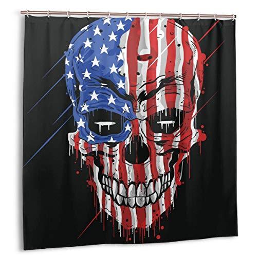Wdoci Cortina de baño,Impermeable,Bandera del CRÁNEO America.Color USA con Grunge Vector DE Capas EDITABLES,Cortina de Ducha de con Ganchos 180cmx180cm