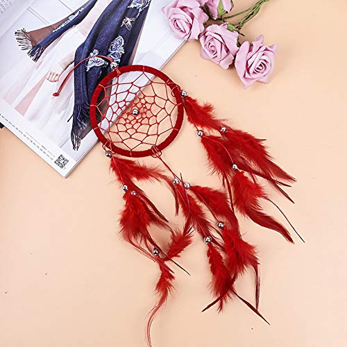 Adarl Home Decor Creative India Style Handmade Dream Catcher with Feather Wall Hanging Ornament Craft Gift Red J