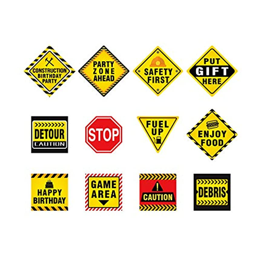 """12 PCS Traffic Signs Stickers Cutouts 8"""" Construction Zone Birthday Party Supplies Decorations for Kids Boys"""