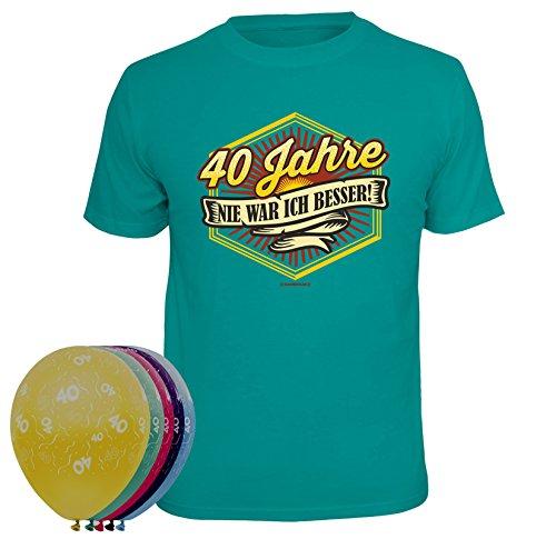 MakenGO & Co. KG Fun-Shirts-Geschenke-Textildruck T-Shirt 40 Jahre nie war ich Besser Größe S und 5 Luftballons