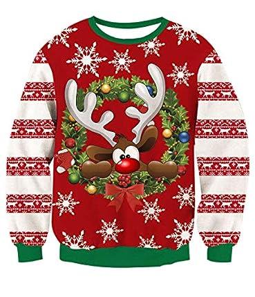 TUONROAD Sudaderas sin Capucha Christmas Unisex Ciervo 3D Impreso Ugly Navidad Suéter Jumper Crew Neck Manga Larga Jersey Sweatshirt para Hombres Mujeres - S