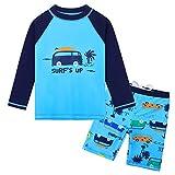 HUAANIUE Baby Toddler Boy Swimsuit Rashguard Set Swimwear UPF 50+ Car 0-6 Months