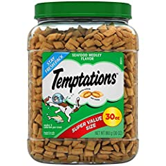 Contains (1) 30-ounce tub of TEMPTATIONS treats for cats seafood medley flavor Your cat can't wait to get their paws on these scrumptious cat food treats that are crunchy on the outside and soft on the inside Under 2 calories per seafood flavor cat t...