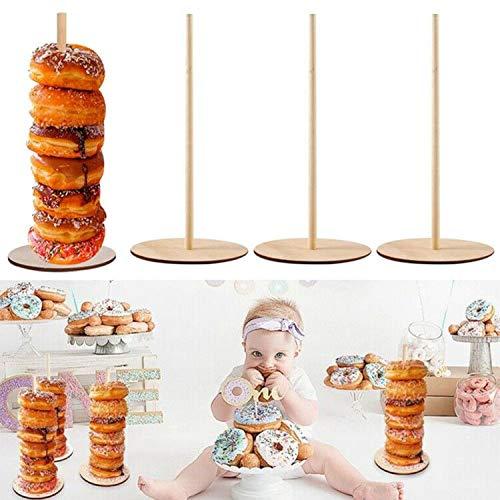 Soporte de exhibición de donuts de madera Estante de postre de pared DIY Fiesta de cumpleaños para niños Baby Shower Decoración de la boda Paquete de 3