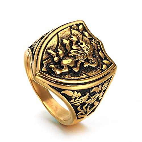 DZXCB Anillo para Hombre Cool Gothic Lion Shield Acero Inoxidable Hombre King Crown Anillos Vintage Lion Totem Ring Jewelry,Oro,8
