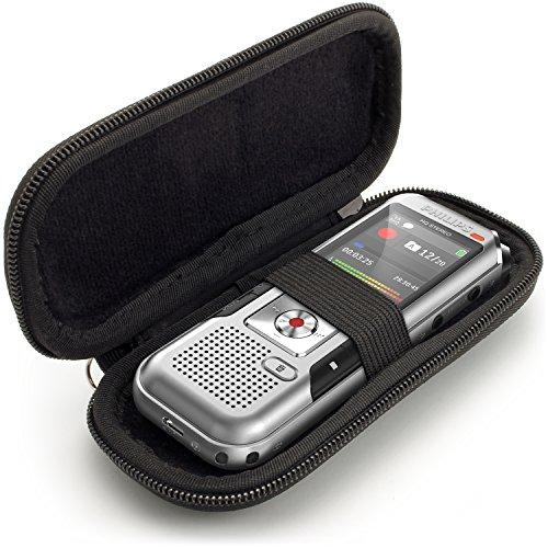 igadgitz U6689 EVA Hart Schutzhulle Kompatibel mit Philips DVT2510 2700 4000 4010 6010 6500, LFH 0652, Speech Tracer 1200 Digitale Diktiergerate - Schwarz