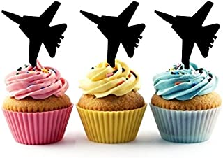 TA0050 Jet Fighter Silhouette Party Wedding Birthday Acrylic Cupcake Toppers Decor 10 pcs