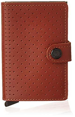 Secrid Perforated Miniwallet portemonnee met RFID-bescherming 6,5 cm Cognac
