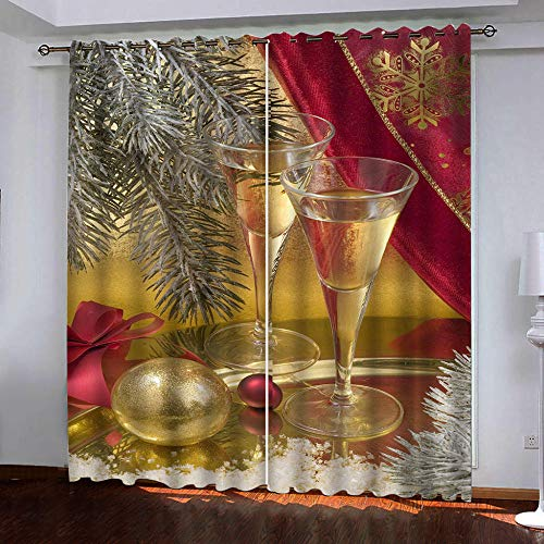 FFBYQ 3D Insulated Blackout Curtainswine Glass Eyelet Curtain 100% Polyester Microfiber Thermal Insulation Blackout Curtain170Wx200H Cm