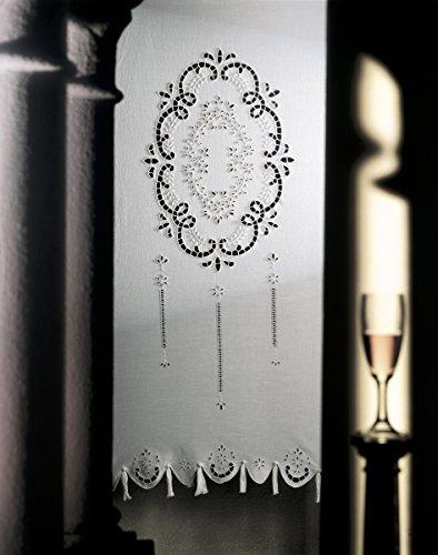 Zenoni & Colombi Coppia di Tende Ricamate a Mano Doria Made in Italy Misto Lino Varie Dimensioni (45x180)