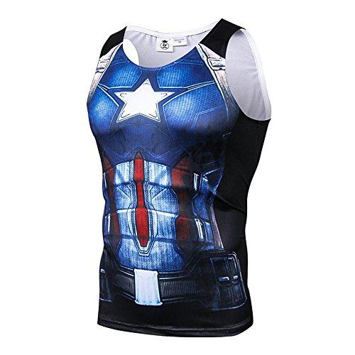 キャプテン アメリカ Tシャツ 速乾 スポーツ tシャツ メンズ タンクトップ 3D プリント tシャツ