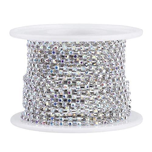 1 Roll Rhinestones Trims, Sparkle Beautiful Wedding Decoration Crystal Chain,(ss6 Silver)