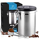 Zulay (Large) Airtight Coffee Canister - Stainless Steel Coffee Storage Canister with Scoop - Features Include a Date Tracker, Built-In One-Way CO2 Valve & 2 Spare Filter Replacements