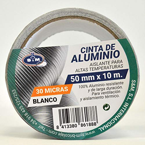 S&M Cinta aluminio blanca 50 mm x 10 m (espesor 30 micras) SANEAPLAST- Cinta adhesiva de aluminio multiusos– Rollo de 10 metros, Blanco