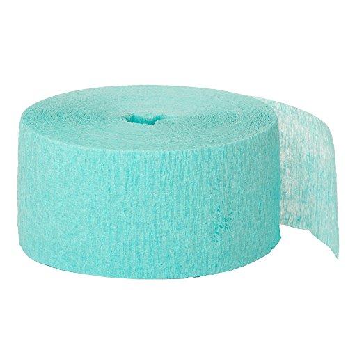 Unique Party- Serpentina de papel crepé para fiestas, Color verde agua, 24 cm (6358)
